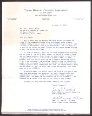 Primary view of object titled '[Letter from James W. Francis and A. R. Nelson to Doris Horne - November 18, 1965]'.