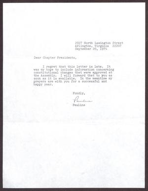 Primary view of object titled '[Letter from Pauline Ellison to Links Chapter Presidents - September 20, 1974]'.