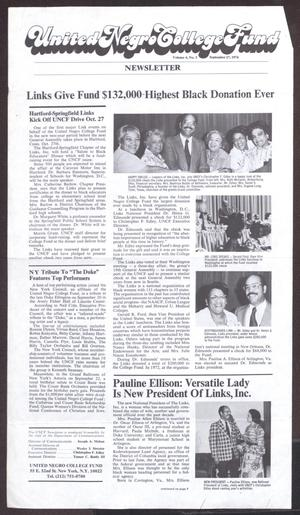 Primary view of object titled 'United Negro College Fund Newsletter, Volume 4, Number 3, September 27, 1974'.