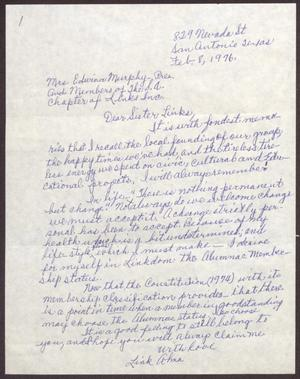 Primary view of object titled '[Letter from Alma Inge to Edwina Murphy and Members of the San Antonio Chapter of The Links, Inc. - February 8, 1976]'.