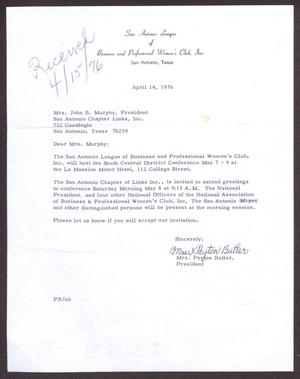 Primary view of object titled '[Letter from Mrs. Payton Butler to Edwina Murphy - April 14, 1976]'.