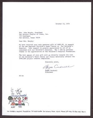 Primary view of object titled '[Letter from Angus Cockrell to Edwina Murphy - October 13, 1976]'.