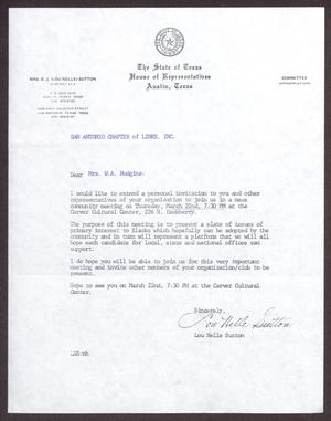 Primary view of object titled '[Letter from Lou Nelle Sutton to Vernis Hudgins - 1979-03]'.