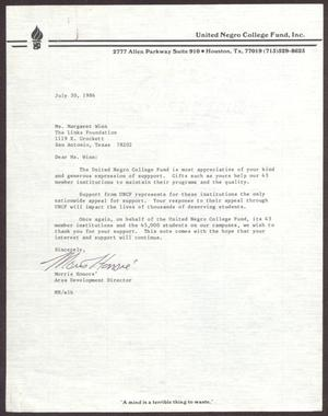 Primary view of object titled '[Letter from Morris Honoré to Margaret Winn - July 30, 1986]'.