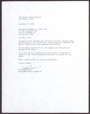 Primary view of object titled '[Letter from Alfred Curl to Margaret Winn - September 15, 1986]'.