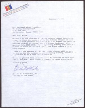 Primary view of object titled '[Letter from  W. W. McAllister, Jr. to Margaret Winn - December 2, 1986]'.