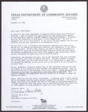 Primary view of object titled '[Letter from Charlene Doria Ortiz to Texas Links Members - November 12, 1985]'.