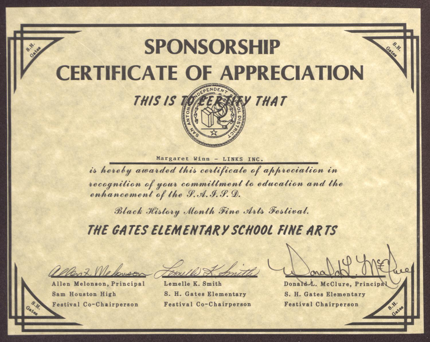 sponsorship appreciation certificate