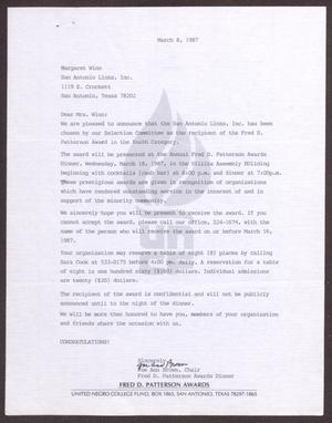 Primary view of object titled '[Letter from Joe Ann Brown to Margaret Winn - March 8, 1987]'.