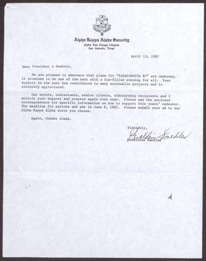 Primary view of object titled '[Letter from Geraldine Smedler to President and Members - April 13, 1987]'.