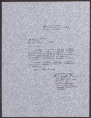 Primary view of object titled '[Letter from Margaret Winn and Vernis Hudgins to Blair Corning - December 3, 1985]'.