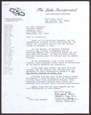 Primary view of object titled '[Letter from Margaret Winn and Vernis Hudgins to Dave Rosehour - December 13, 1985]'.