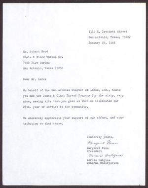 Primary view of object titled '[Letter from Margaret Winn and Vernis Hudgins to Robert Herd - January 28, 1986]'.