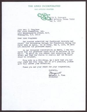 Primary view of object titled '[Letter from Margaret Winn to Mary P. Douglass - May 6, 1986]'.