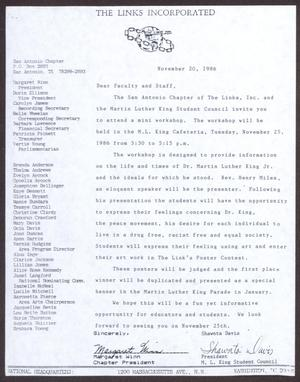 Primary view of object titled '[Letter from Margaret Winn and Shawnta Davis to Faculty and Staff - November 20, 1986]'.