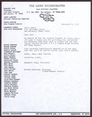 Primary view of object titled '[Letter from Margaret Winn and Brenda Anderson to Radio Shack - December 2, 1986]'.