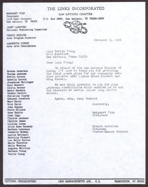 Primary view of object titled '[Letter from Margaret Winn and Brenda Anderson to Vertie Young - December 2, 1986]'.