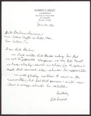 Primary view of object titled '[Letter from Harriet O'Kelley to Dr. Barbara A. Lawrence - June 20, 1996]'.