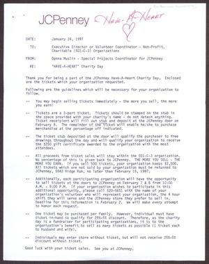 Primary view of object titled '[Memorandum from Donna Muslin to Executive Director or Volutneer Coordinator - Non-Profit, Charitable (501-C-3 Organizations - January 24, 1997]'.