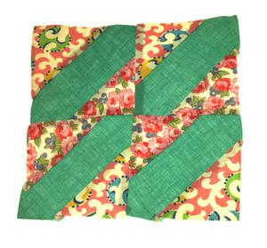 Primary view of object titled '[Green-and-Pink Quilt Block]'.