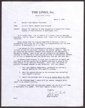 Primary view of object titled '[Letter from Julia B. Smith to Western Area Chapter Presidents - March 4, 1974]'.
