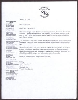 Primary view of object titled '[Letter from Thelma Rice to Sister Links - January 21, 1992]'.