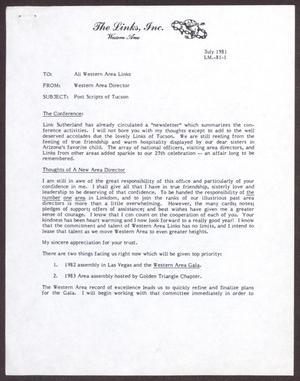 Primary view of object titled '[Letter from Western Area Director Bobbie Whitehead to All Western Area Links - July 1981]'.