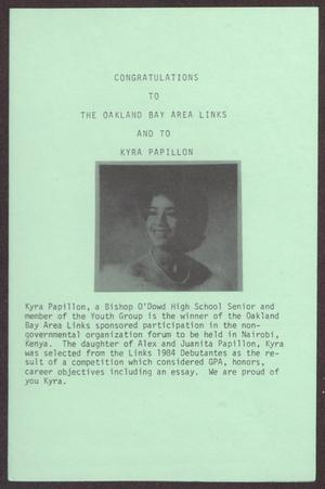 Primary view of object titled '[Announcement of 1985 Western Area Scholarship Winners for The Links, Inc.]'.