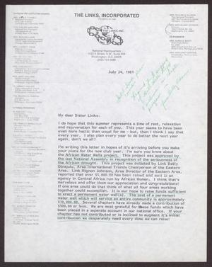 Primary view of object titled '[Letter from Dolly D. Adams to Sister Links - July 24, 1981]'.