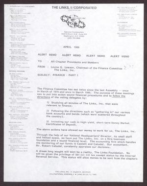 Primary view of object titled '[Memorandum from Louise Q. Lawson to All Chapter Presidents and Members - April 1980]'.