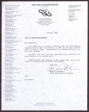 Primary view of object titled '[Letter from Mary P. Douglass to Exhibitors/Vendors - January 1992]'.