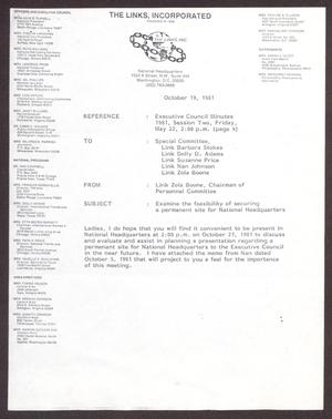 Primary view of object titled '[Memorandum from Zola Boone to Special Committee - October 19, 1981]'.