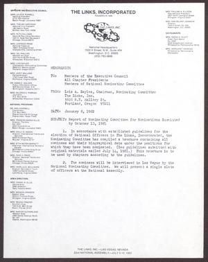 Primary view of object titled '[Memorandum from Lois A. Sayles to Members of the Executive Council - January 8, 1982]'.