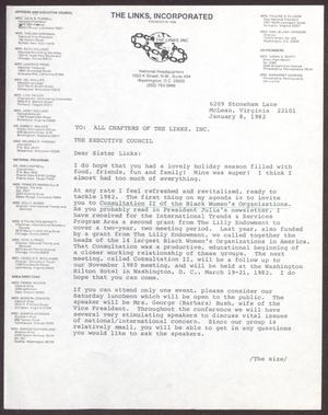 Primary view of object titled '[Memorandum from Dolly D. Adams to All Chapters of The Links, Inc. - January 8, 1982]'.