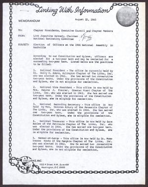 Primary view of object titled '[Memorandum from Josephine Kennedy to Chapter Presidents, Executive Council, and Chapter Members - August 22, 1985]'.