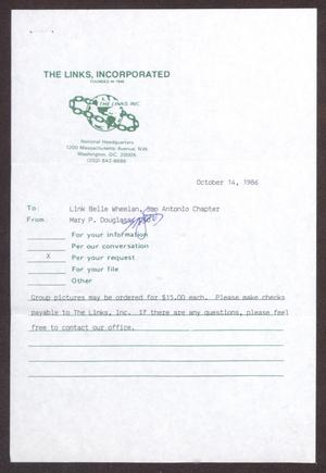 Primary view of object titled '[Memorandum from Mary P. Douglass to Belle Wheelan - October 14, 1986]'.