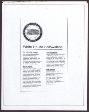 Primary view of object titled '[Information about White House Fellowships]'.