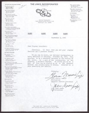 Primary view of object titled '[Memorandum from Gloria Massie and Jean Mosee to Chapter Presidents - September 2, 1985]'.