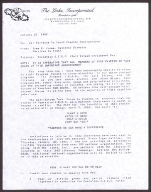Primary view of object titled '[Memorandum from Irma P. Jones to All Services to Youth Chapter Chairpersons - January 27, 1992]'.
