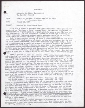 Primary view of object titled '[Memorandum from Hazelle E. Boulware to Chapters and the Executive Council of The Links, Incorporated - January 29, 1981]'.