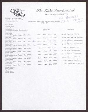 Primary view of object titled 'Proposed Meeting Dates/Hostesses 1986-1987'.