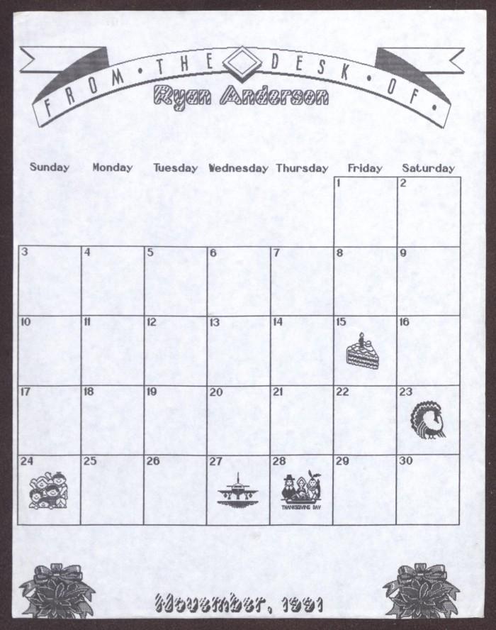Blank Calendar For November 1991 The Portal To Texas History