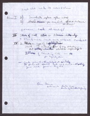 Primary view of object titled '[Notes about protocol for acknowledging the illnesses of San Antonio Links members, alumnae, and close relatives]'.