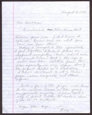 Primary view of object titled '[Letter from Mary Davis to Barbara Lawrence - August 4, 1996]'.