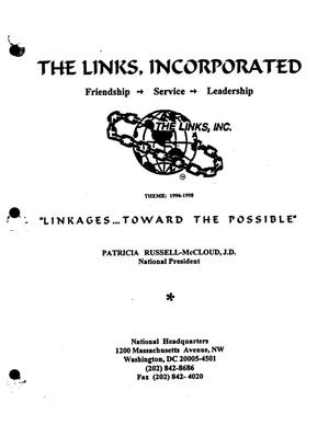 Primary view of object titled 'The Links, Inc. San Antonio Chapter Handbook, 1996'.