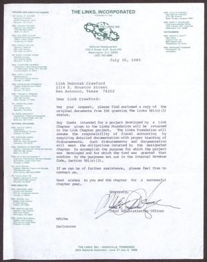 Primary view of object titled '[Letter from Mary P. Douglass to Deborah Crawford - July 30, 1985]'.