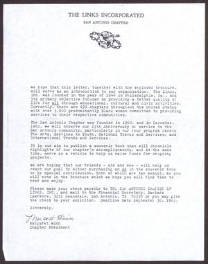 Primary view of object titled '[Form letter sent to prospective donors to the San Antonio chapter of Links, Inc.]'.