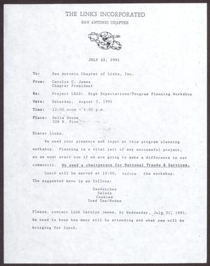 Primary view of object titled '[Memorandum from Carolyn C. James to San Antonio Chapter of Links, Inc. - July 22, 1991]'.