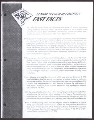 Primary view of object titled 'Summit '93 Health Coalition Fast Facts'.