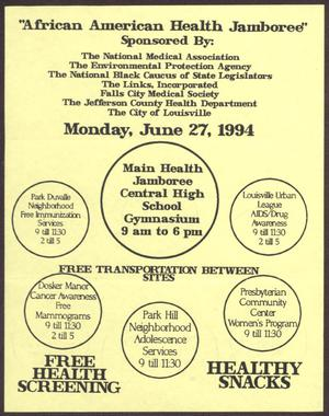 Primary view of object titled '[Links Chapter Documentation: African American Health Jamboree Flier]'.